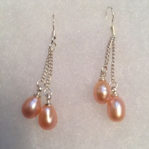 Jewelry - 🌷EARRINGS 925 STERLING SILVER WIRES PINK PEARLS